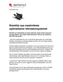 Rototilts nye maskinfeste optimaliserer tiltrotatorsystemet