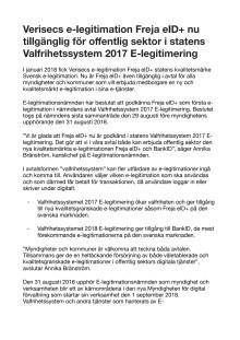 Verisecs e-legitimation Freja eID+ nu tillgänglig för offentlig sektor i statens Valfrihetssystem 2017 E-legitimering