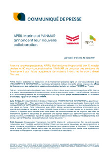 APRIL Marine et YANMAR annoncent leur collaboration