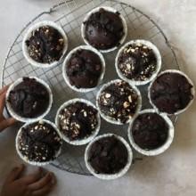 Kaffe muffins med hasselnødder. Skrevet af Maria Vestergaard.