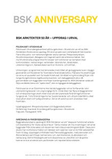 BSK ARKITEKTER 50 ÅR – UPPDRAG I URVAL
