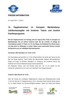 Pressemitteilung zum Programm des Pappbootrennens im Kanupark Markkleeberg