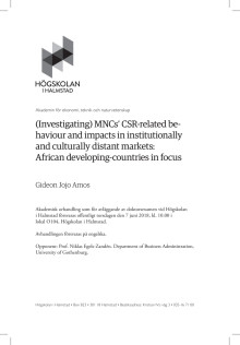 Abstract: (Investigating) MNCs' CSR-related behaviour and impacts in institutionally and culturally distant markets: African developing-countries in focus