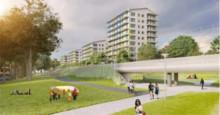 Gång- och cykelbana under Tvärbanan vid Årsta