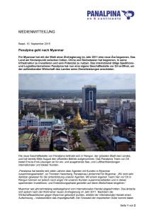 Panalpina geht nach Myanmar