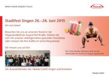 Flyer Stadtfest Singen - Takeda-Aktionen