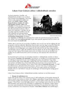 Läkare Utan Gränsers arbete i våldsdrabbade områden