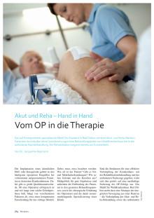 """Akut und Reha Hand in Hand: Vom OP in die Therapie. Artikel in ´f&w führen und wirtschaften im Krankenhaus"""" 09/2015"""