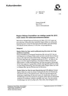 Förhandlingsframställan till Statens kulturråd om statliga medel för 2013
