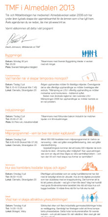 TMF i Almedalen 2013 - veckans program