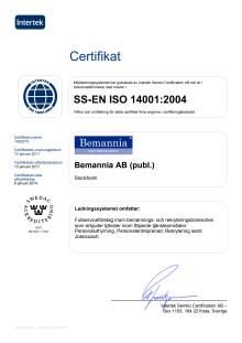 Certifikat ISO 14001:2004 Bemannia AB