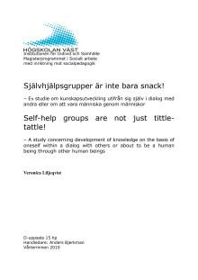 Självhjälpsgrupper är inte bara snack! - En studie om kunskapsutveckling utifrån sig själv i dialog med andra eller om att vara människa genom människor