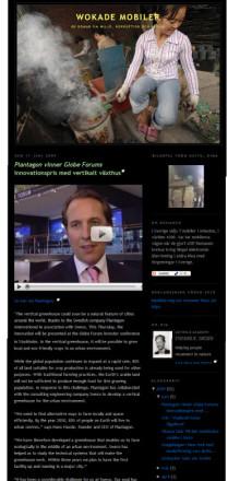 Plantagon wins globe forum innovation award