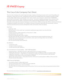 The Coca-Cola Company Fact Sheet