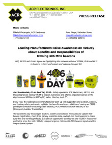 Leading Manufacturers Raise Awareness on 406Day about Benefits and Responsibilities of Owning 406 MHz beacons