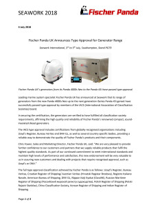 Fischer Panda UK Announces Type Approval for Generator Range