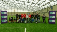 Yoan Gouffran and Vurnon Anita launch the Premier League and BT Disability programme at Newcastle United Foundation