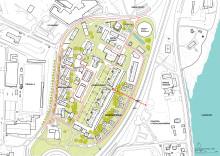 Översikt av hela området och föreslagna byggnationer och förändringar