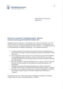 """Remissvar avseende """"Handlingsprogram regional bredbandsstrategi 2019-2025 för Kalmar län"""""""