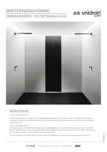 Monteringsanvisning för unidrain® Modul 1100 golvränna för betongbjälklag