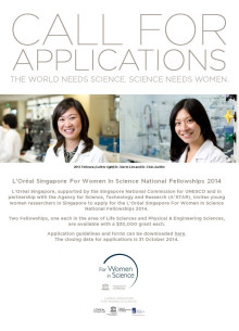 Call for Application - L'Oréal Singapore For Women In Science National Fellowships