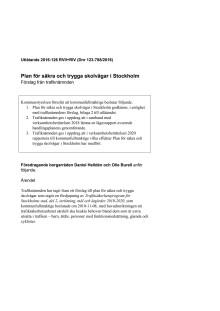 160906 Beslutshandlingar Plan för trygga och säkra skolvägar