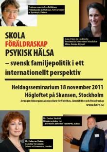 Haro-seminarium i november: Svensk familjepolitik i internationellt perspektiv