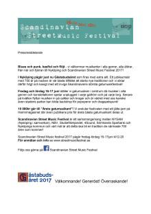 Scandinavian Street Music Festival - Ny mötesplats för musik i Nyköping!