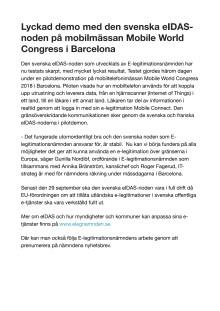 Lyckad demo med den svenska eIDAS-noden på mobilmässan Mobile World Congress i Barcelona