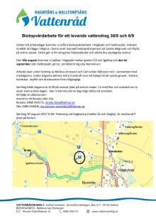 Biotopvårdarbete för ett levande vattendrag 30/8 och 6/9