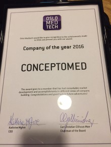"""ConceptoMed named """"Company of the Year 2016"""" of Norwegian Medtech Cluster"""