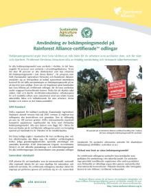 Användning av bekämpningsmedel på Rainforest Alliance-certifieradeTM odlingar