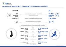 Infograafi aiheesta: Taloudelliset menetykset tuoteväärennösten vuoksi Suomessa ja EU:ssa