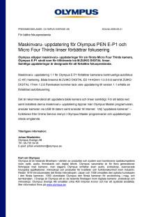 Olympus PEN E-P1 uppdatering för förbättrad autofokus