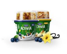 Hatten av för nya Activia Mellanmål!       Probiotisk yoghurt med flingor som gör gott för magen