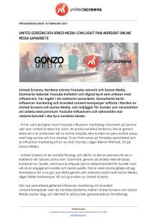United Screens och Gonzo Media i exklusivt pan-nordiskt online media samarbete
