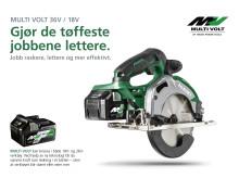 MULTI VOLT 36V by HiKOKI - fremtidens batteriteknologi er også kompatibel med 18V.