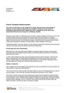 Future Transport Award, English