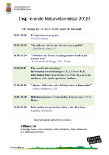 Program Naturvetarmässan Polhemskolan