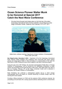 Ocean Science Pioneer Walter Munk to be Honored at Special 2017 Catch the Next Wave Conference