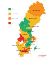 Creditsafes konkursbarometer första halvåret 2016: Här är kommunerna och länen där konkurserna minskar