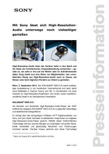 """Pressemitteilung """"Mit Sony lässt sich High-Resolution-Audio unterwegs noch vielseitiger genießen"""""""