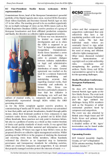 ECSA News from Brussels - Edition 22, July 2012