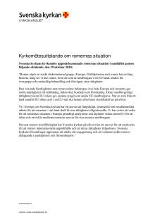Kyrkomötets uttalande om romernas situation i Europa