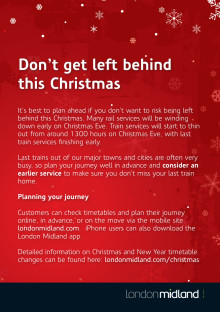 Christmas and New Year travel advice