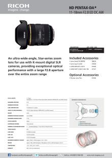 Pentax HD 11-18 mm, spec sheet