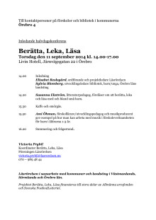 Berätta, Leka, Läsa Örebro 11 september 2014