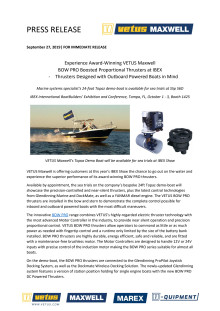 Experience Award-Winning VETUS Maxwell BOW PRO Boosted Proportional Thrusters at IBEX - Thrusters Designed with Outboard Powered Boats in Mind