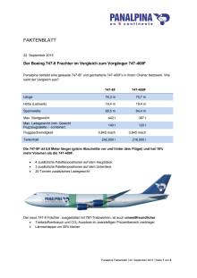 Faktenblatt: Der Boeing 747-8 Frachter im Vergleich zum Vorgänger 747-400F