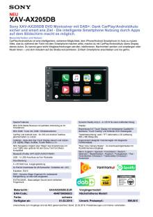 Datenblatt: Car Receiver XAV-AX205DB von Sony